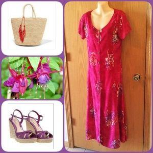 Vintage Hawaiian Batik Print Maxi Dress